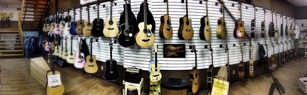 Guitars hanging on a wall