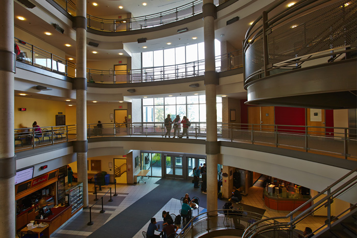 interior of institute for applied health sciences at mcmaster