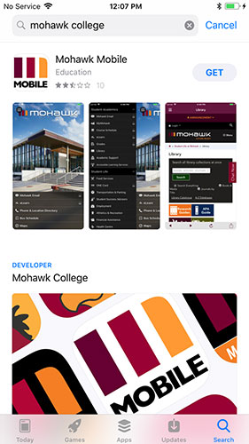 iOS Store showing Mohawk Mobile app