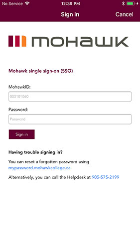 Mohawk's single sign on page
