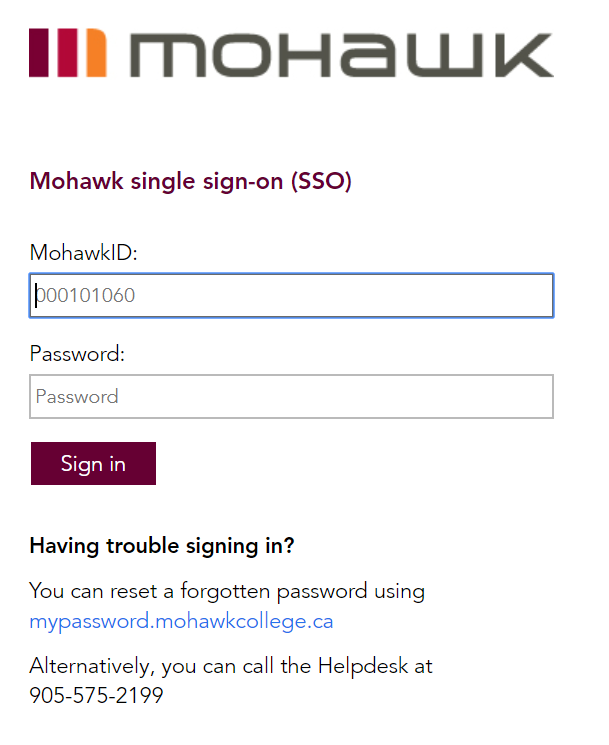 Type your 9 digit MohawkID (student number) and password