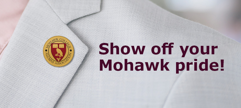 a coat lapel with the mohawk alumni pin presented