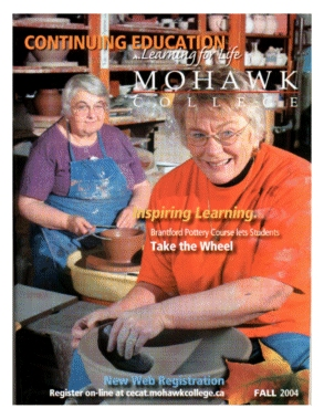 Mohawk College Continuing Education Catalogue Cover Fall 2004