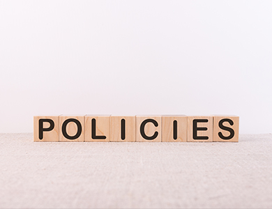 blocks that spell the word policies