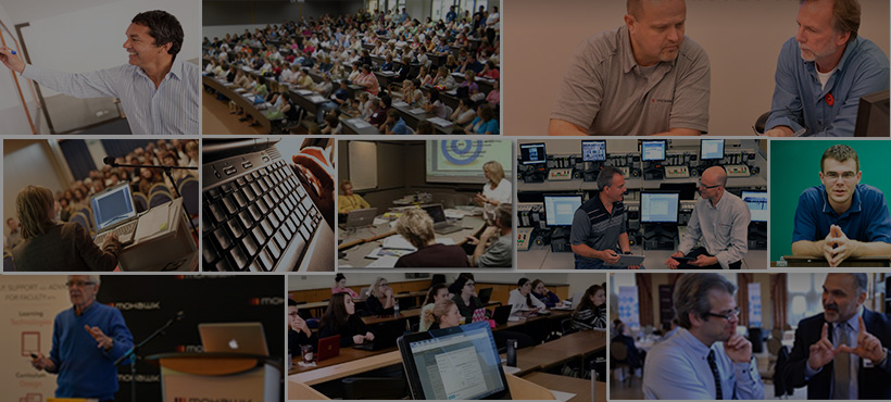 collage of lectures, online learning, faculty
