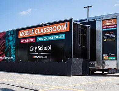 Exterior of the City School Mobile Classroom