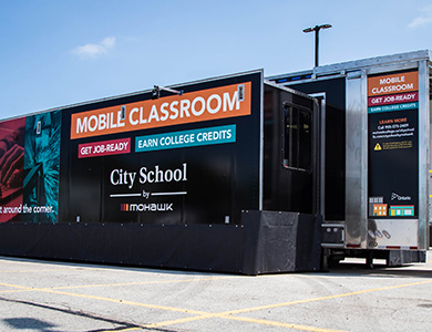 city school mobile classroom exterior