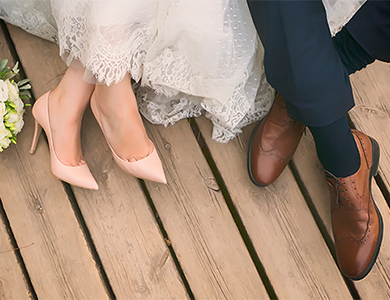 Bride and Groom's feet as they sit down
