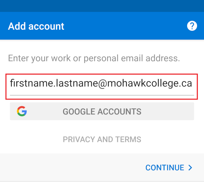 Outlook Android enter e-mail address