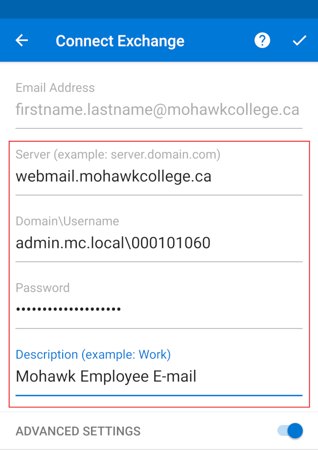 Outlook Android Account Details