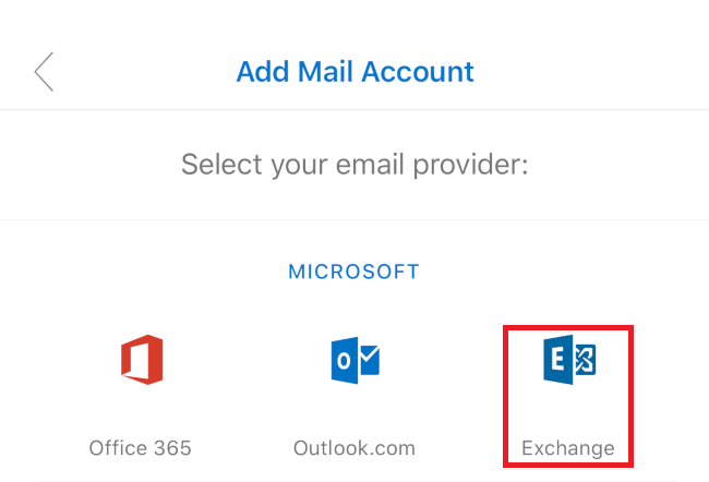 Outlook IOS Exchange Option