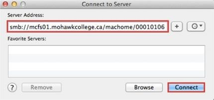 Screenshot of Connect to Server prompt in Mac OS showing server address