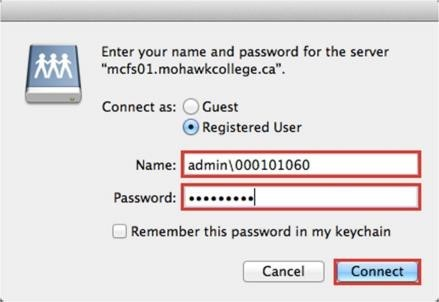 Screenshot of login prompt in mac OS asking for mohawkID and password