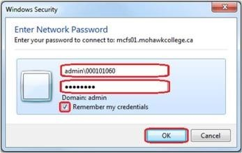 Screenshot showing login prompt asking you to enter your mohawkID and password