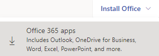 Screenshot of Install Office link in Office 365