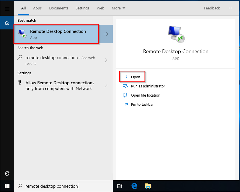 Screenshot of windows 10 start menu displaying search result for remote desktop connection