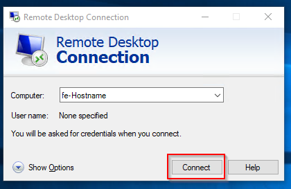 Screenshot of remote desktop connection window asking for computer hostname