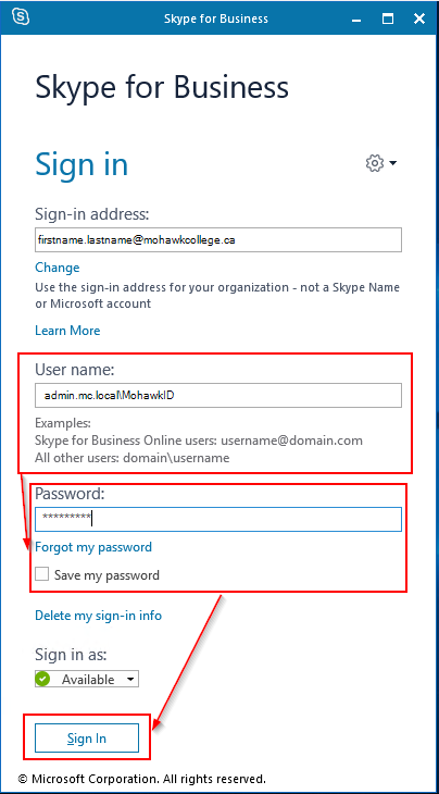 Screenshot showing format of Username field when signing into skype for business