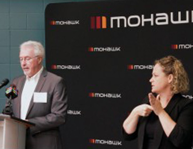 Two speakers at a Mohawk College fundraiser