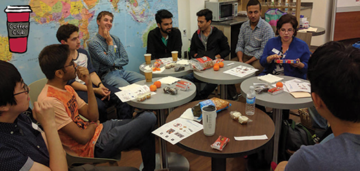 international students at coffee club