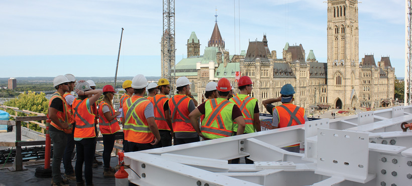 mohawk civil engineering technology students on a field trip in ottawa