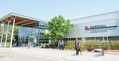 Students walking by the Mohawk College Stoney Creek Campus entrance