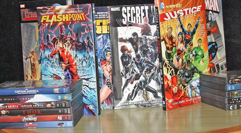 superhero comic books and dvds