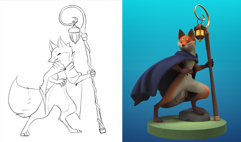3d model of a wolf cartoon character