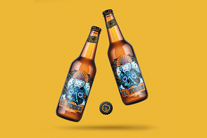 an illustration on a beer label by Sara Veronica Alas Alvarez