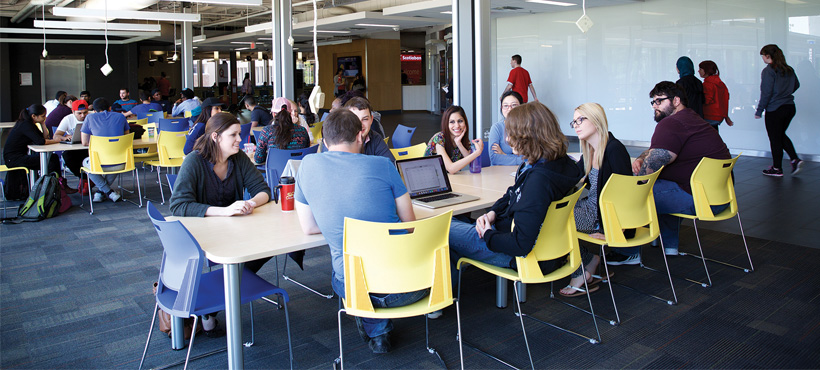 Students sitting together in the Mohawk College C Wing at Fennell Campus