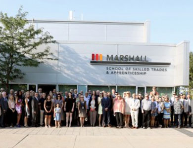Crowd photo in front of the Marshall School of Skilled Trades and Apprenticeship