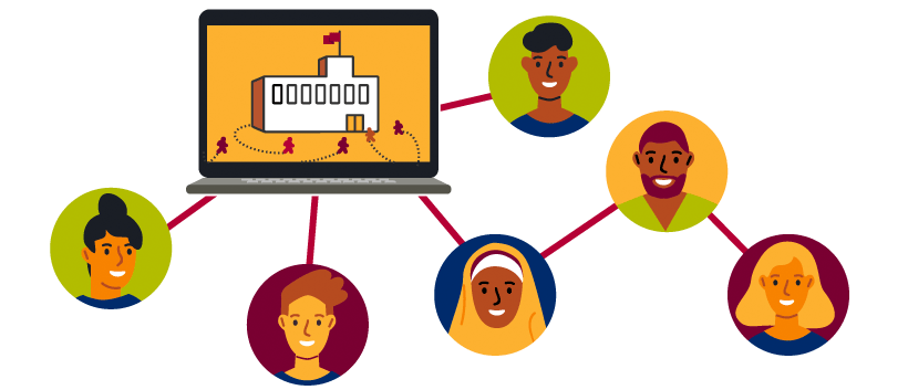 graphic of student faces and portraits connected to a computer showing a school campus