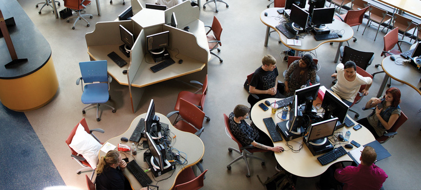 Students working in a Mohawk College computer lab