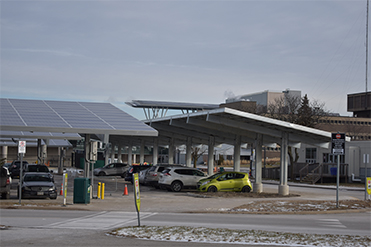 a solar carport over 200 parking spaces in mohawk college