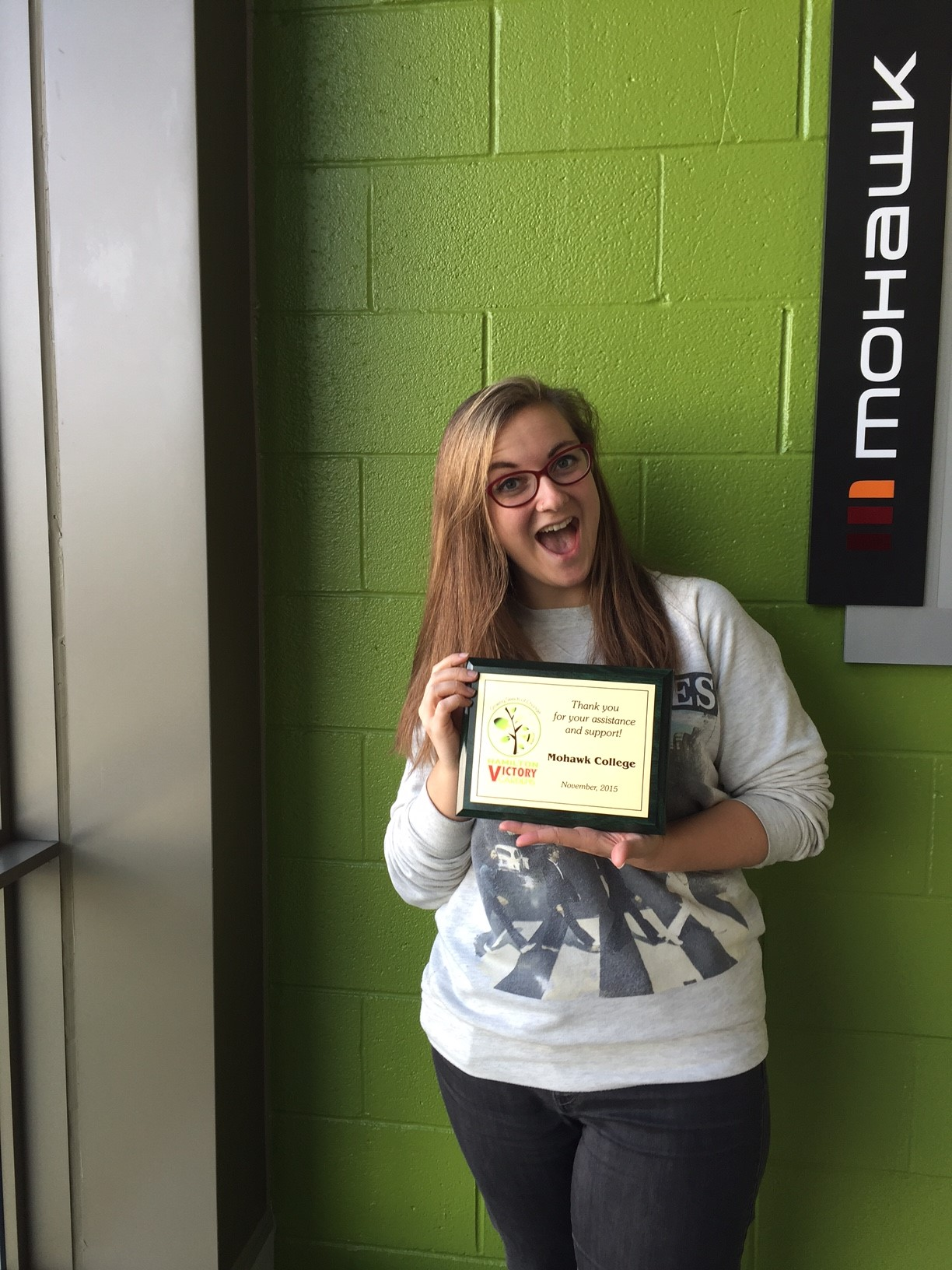Mohawk College Student Ashley Packer With a VG Award