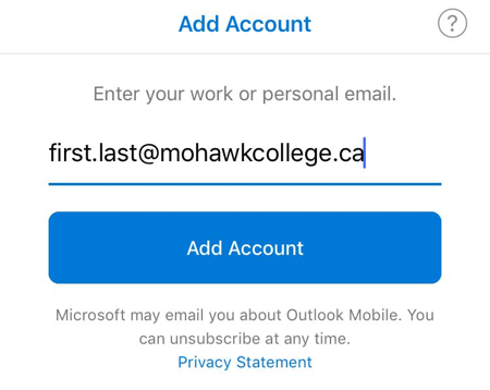 iOS Outlook Add Account Page