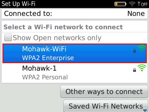 Blackberry Set Up Wi-Fi menu