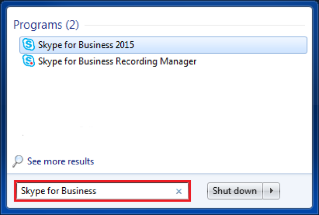 Skype for Business in Windows Start Menu