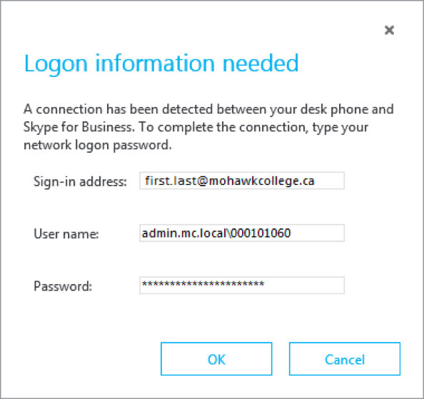 Skype for Business Logon Screen
