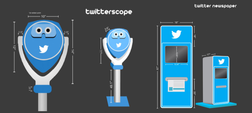 twitter scope mock up and twitter newspaper mock up
