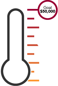 illustration of a thermometer with a goal of $50,000 dollars