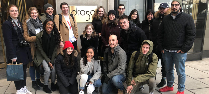 Mohawk college students on a trip to New York City