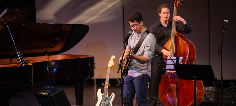 mohawk students play music in the mcityre performing arts centre