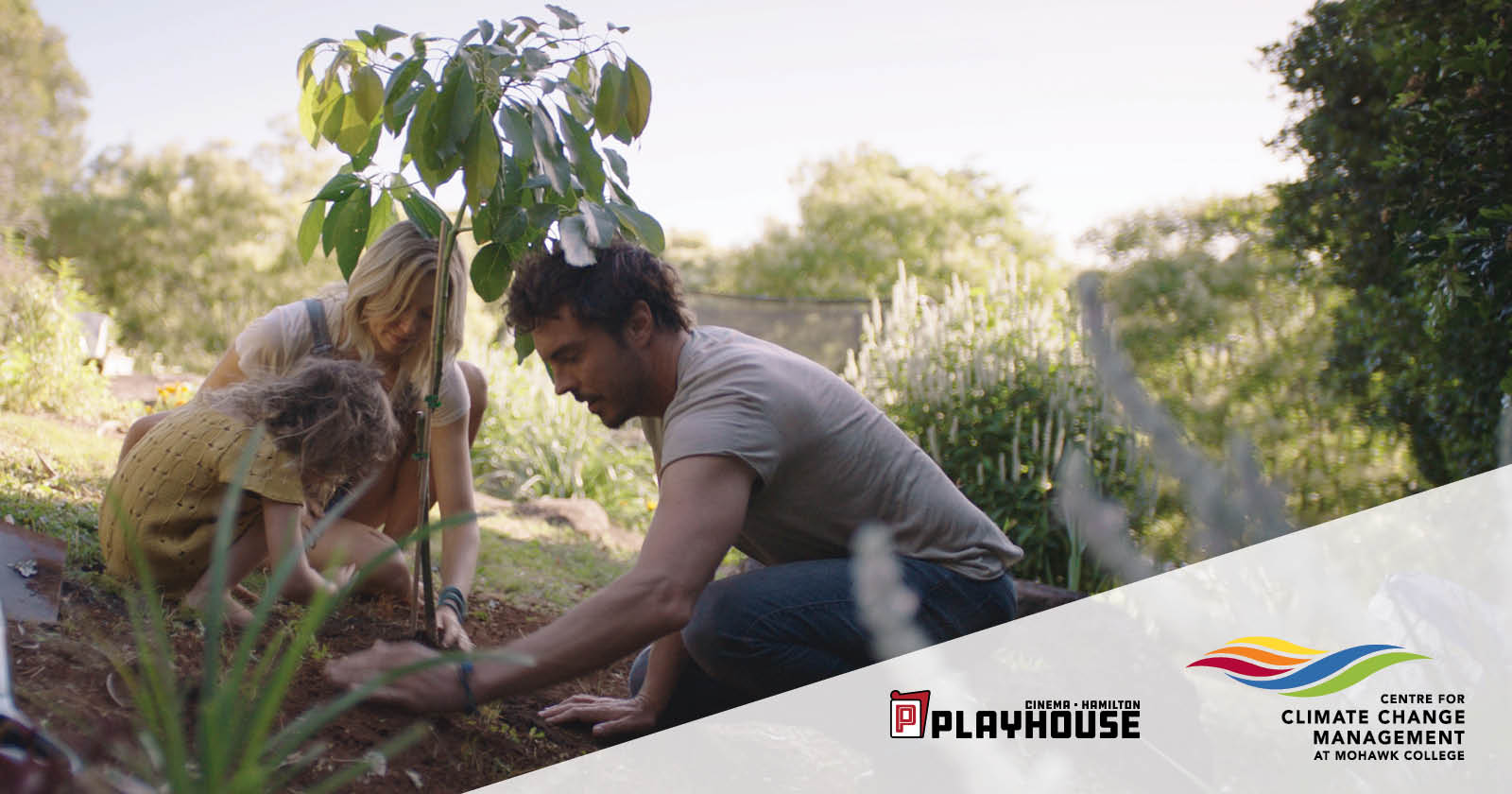 2040 Film advertisement planting trees with Playhouse and Centre for Climate Change Management logos