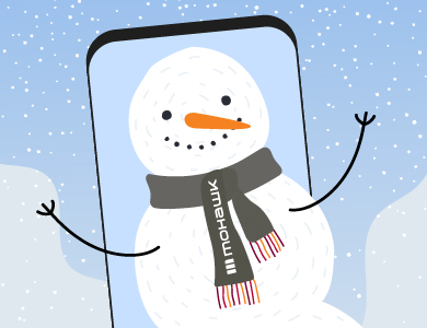 Snowman inside a photo with a Mohawk College scarf on
