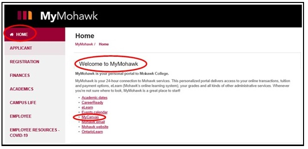 MyMohawk page displaying home page and highlighting MyCanvas link