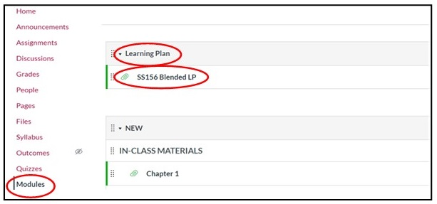 Modules and learning plan icons highlighted