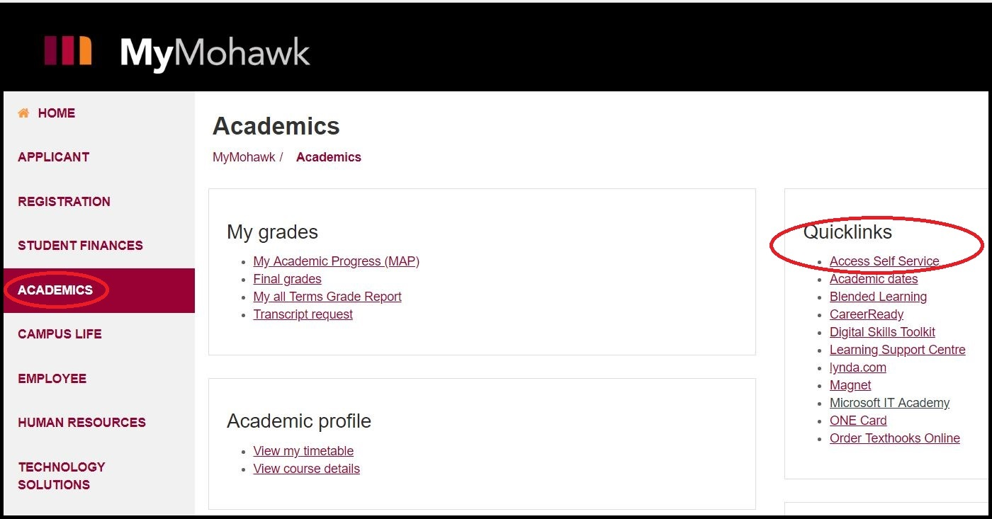 MyMohawk page displaying the Academics page and highlighting the Access Self Service link
