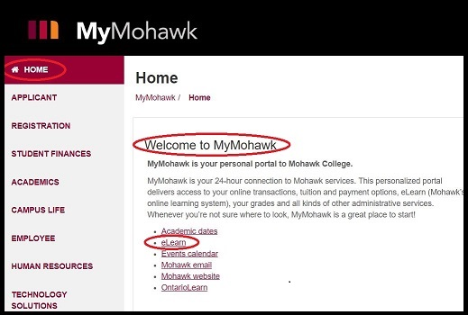 Mymohawk page displaying home page and highlighting eLearn link