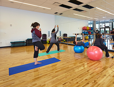 people exercising in the fitness room
